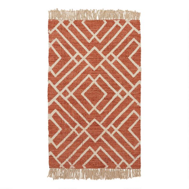 Pecan Diamond Jute Nido Area Rug with Backing