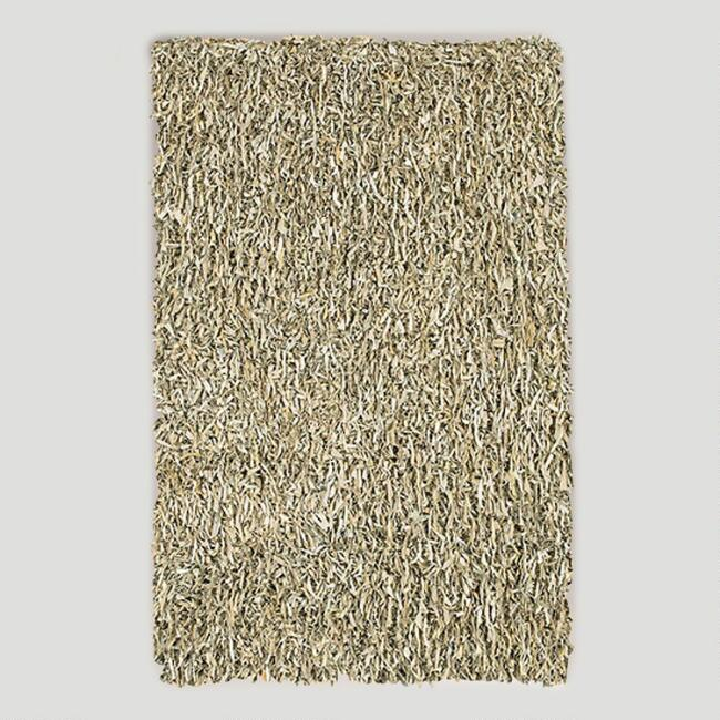 Leather Shag Rug, Ivory Tusk