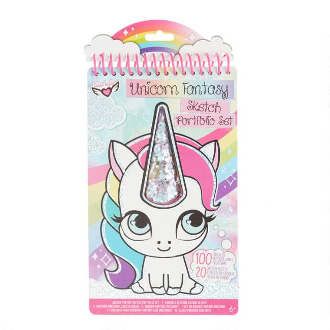 Unicorn Fantasy Sketch Portfolio Set with Stickers