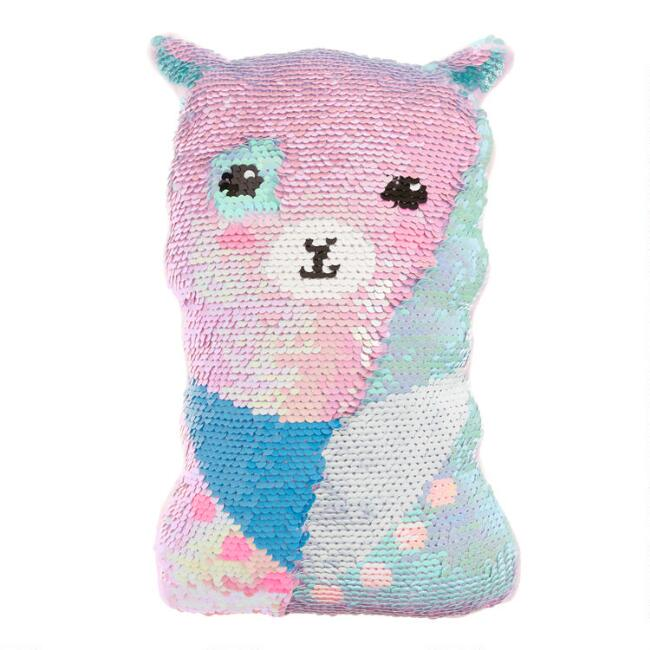 Reversible Sequin Llama Throw Pillow