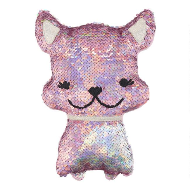 Reversible Sequin Plush Stuffed Dog