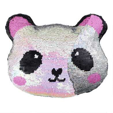 Reversible Sequin Panda Throw Pillow