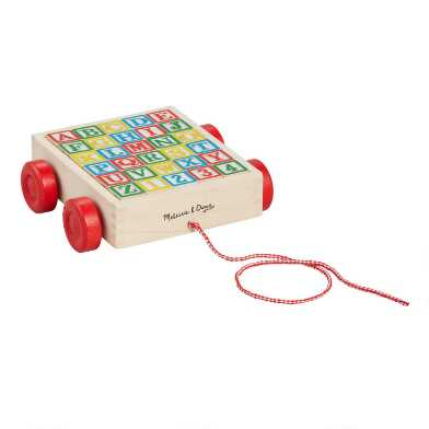 Melissa and Doug Classic ABC Block Cart Wood Toy