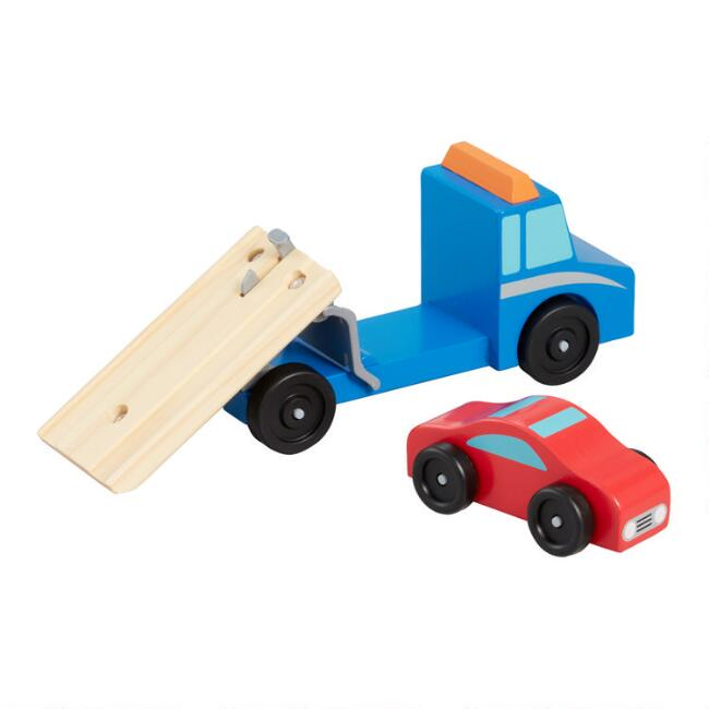 Melissa and Doug Flatbed Tow Truck 2 Piece Wooden Toy Set