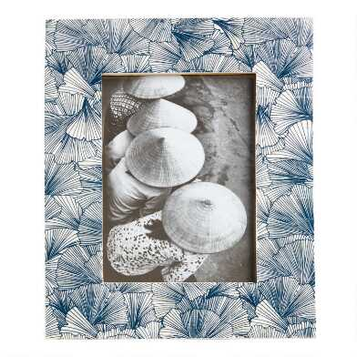 Indigo Blue Gingko Leaf Bone Frame