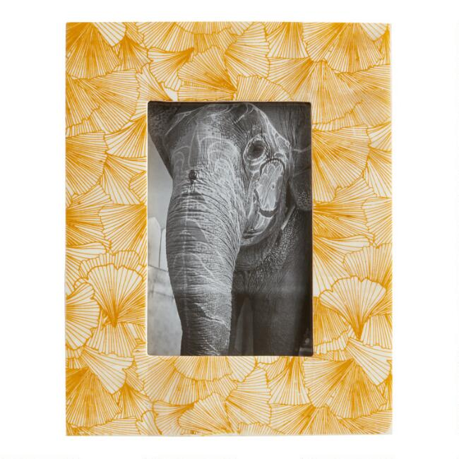 Mustard Yellow Gingko Leaf Bone Frame