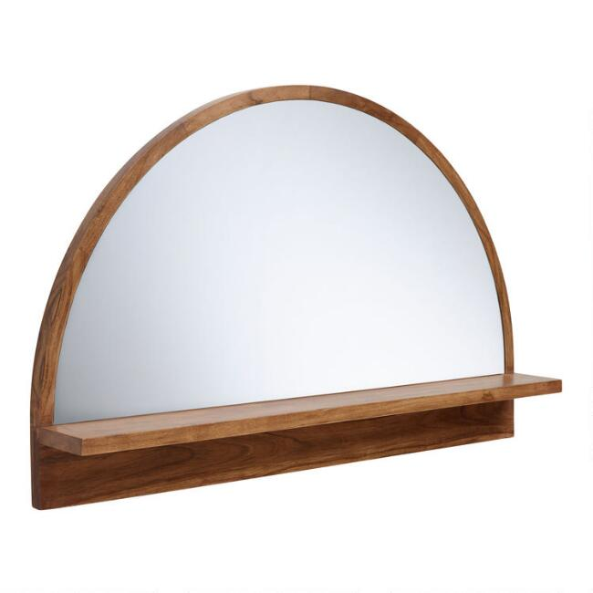 Half Round Mirror with Acacia Wood Shelf