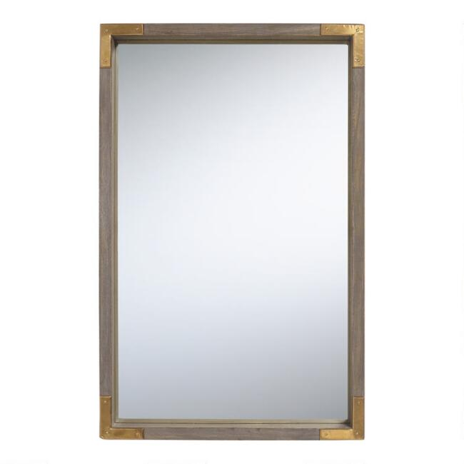 Gray Wood and Brass Mirror