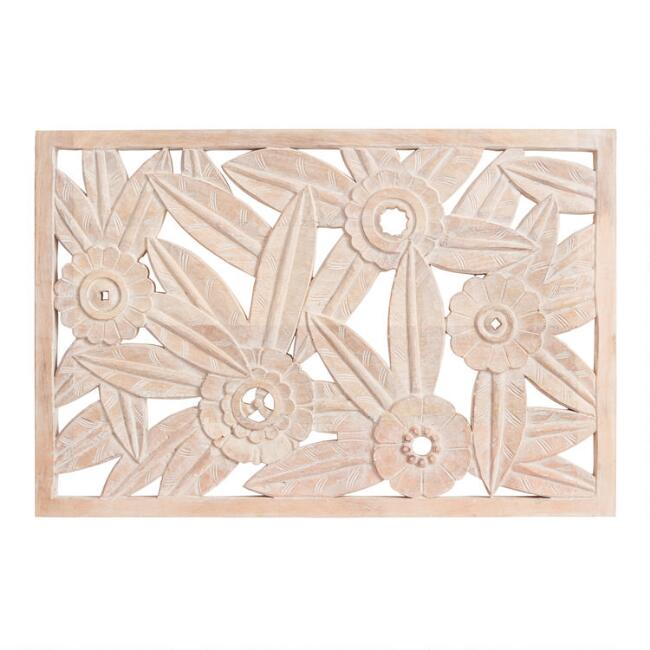 Whitewash Floral Carved Wood Panel Wall Decor