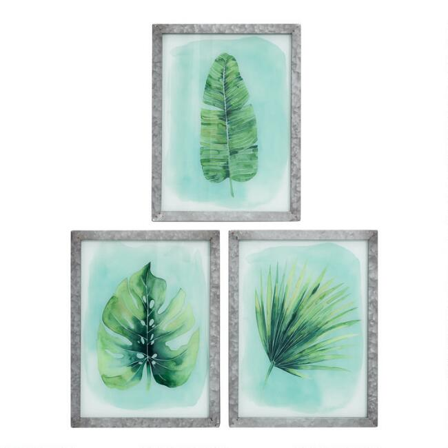 Tropical Leaf Glass and Metal Framed Wall Art Set of 3