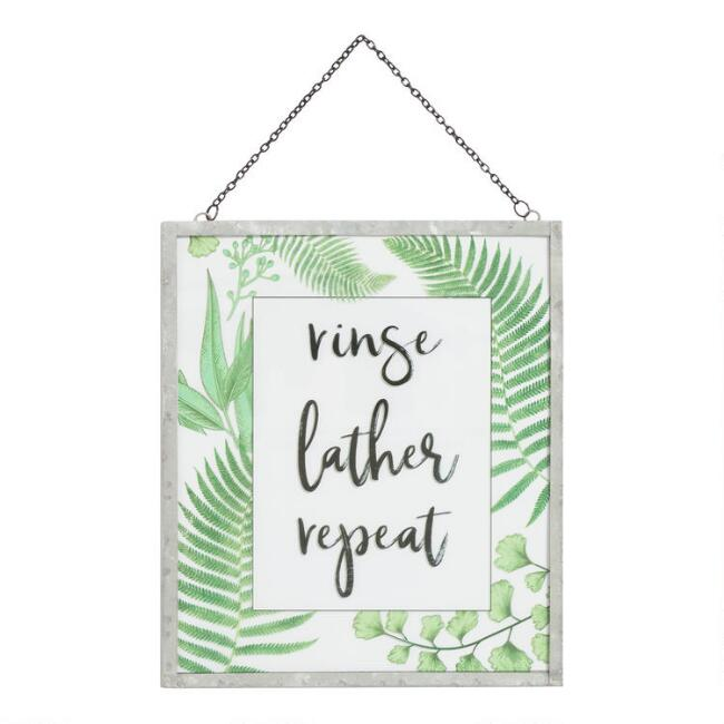 Rinse Lather Repeat Glass Pane Wall Decor