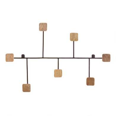 Wood and Black Metal Asymmetrical 7 Hook Wall Rack