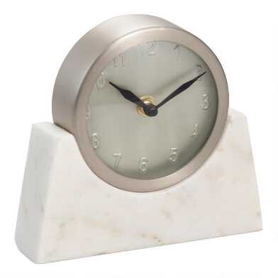 Silver Clock with White Marble Stand