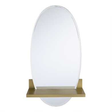 Oval Floating Mirror with Brass Shelf