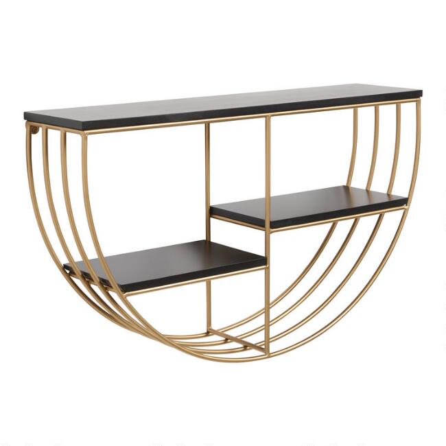 Half Round Gold and Black Wall Shelf