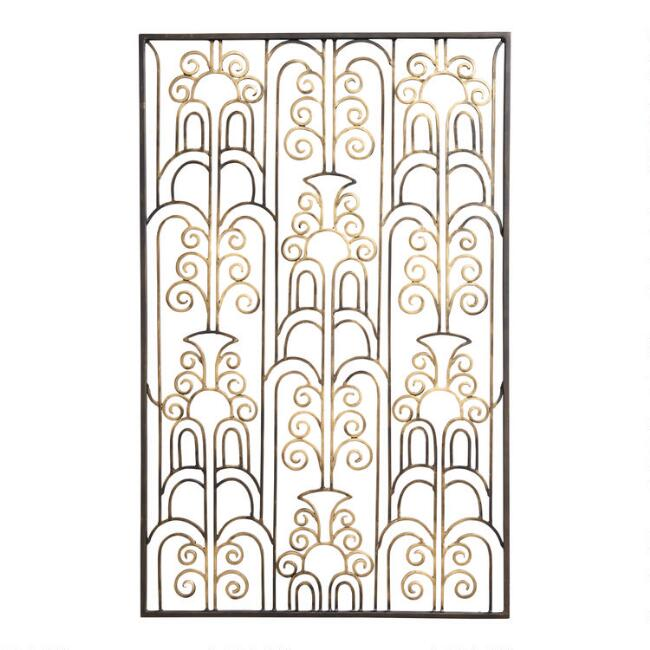 Distressed Gold and Black Iron Art Deco Panel Wall Decor