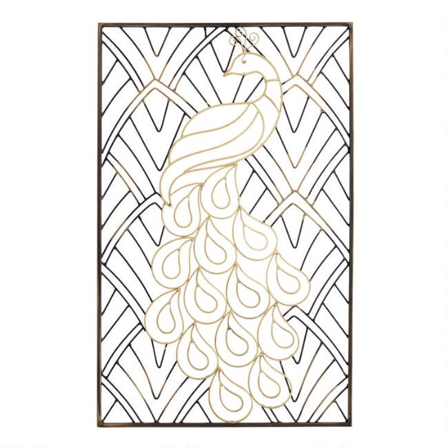 Gold and Black Peacock Iron Panel Wall Decor