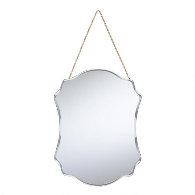 Beveled Scallop Mirror with Chain
