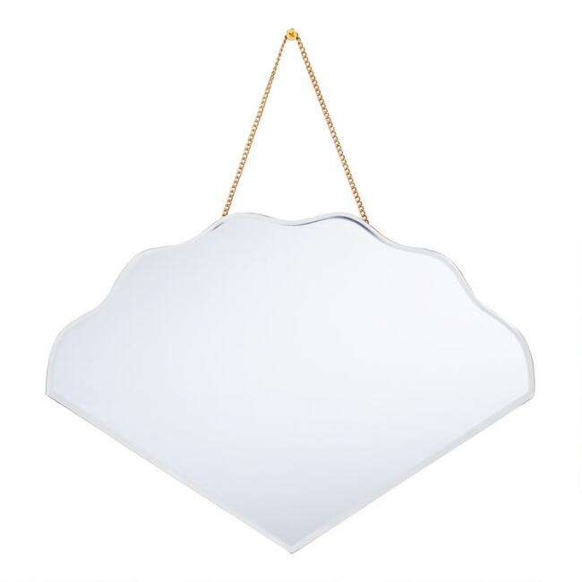 Beveled Fan Mirror with Chain