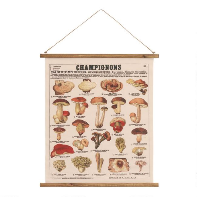 Vintage French Champignon Linen Scroll Wall Hanging