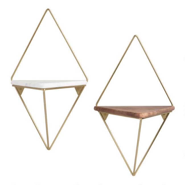 Gold Metal Diamond Wall Shelf