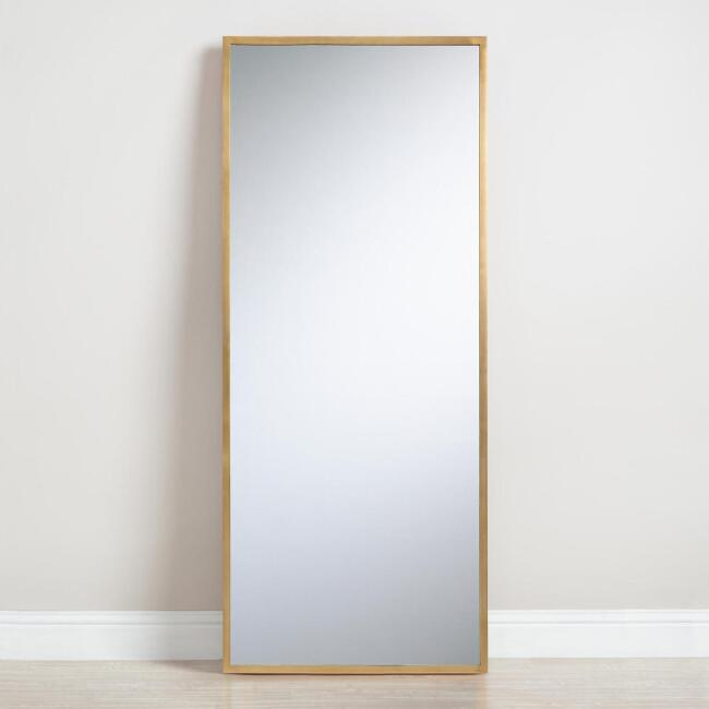 Antique Brass Leaning Full Length Sana Floor Mirror