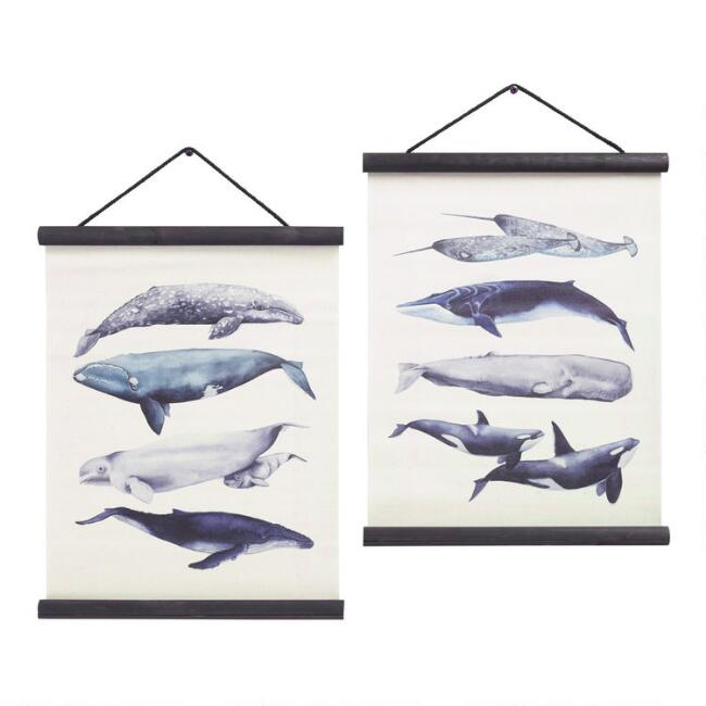 Watercolor Whales Linen Scroll Wall Hangings Set of 2