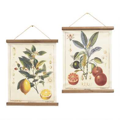 Lemon and Orange Linen Scroll Wall Hangings Set of 2