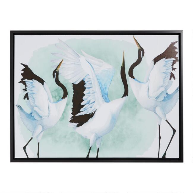 Dancing Crane Panel by Grace Popp Framed Canvas Wall Art