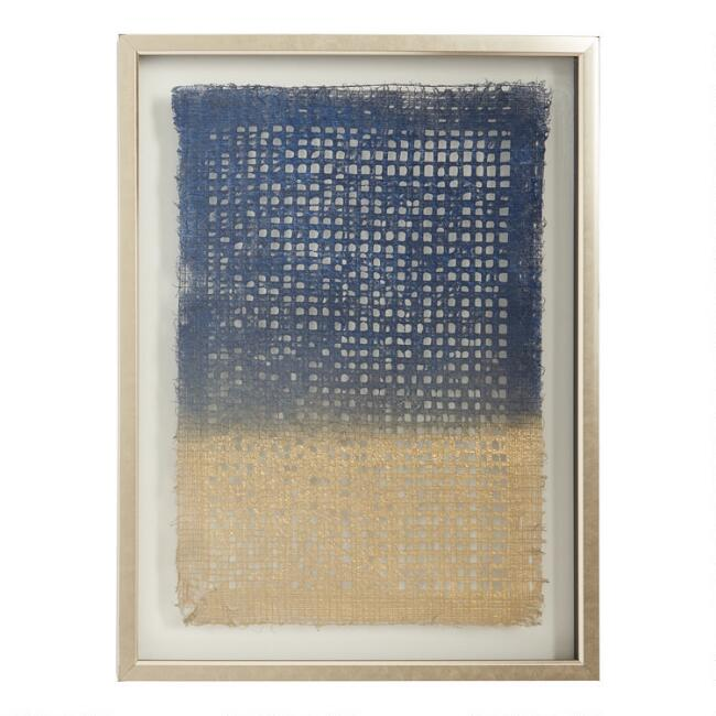 Blue and Gold Dip Dyed Rice Paper Shadow Box Wall Art
