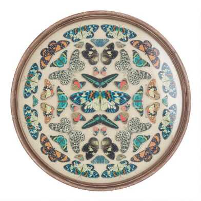 Round Vintage Butterfly Kaleidoscope Framed Wall Art