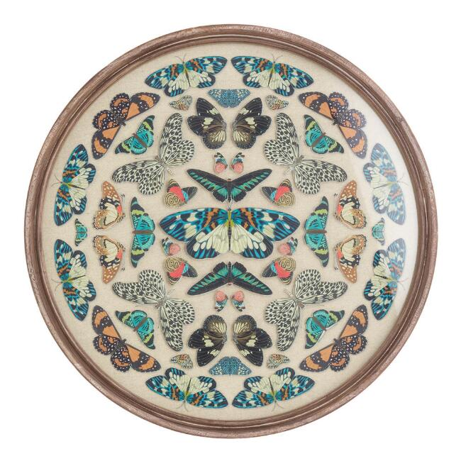Round Vintage Butterfly Kaleidoscope Framed Wall Art by World Market