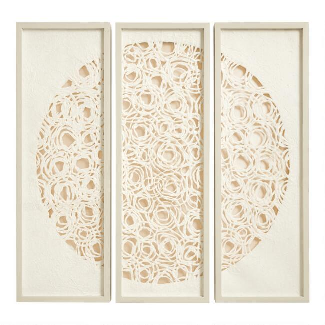 Rice Paper Medallion Triptych Shadow Box Wall Art Set of 3