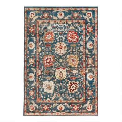 Blue And Coral Floral Sarouk Area Rug