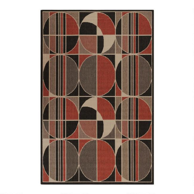 Black And Red Circles Indoor Outdoor Area Rug