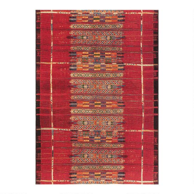Red Multicolor Global Stripe Indoor Outdoor Area Rug
