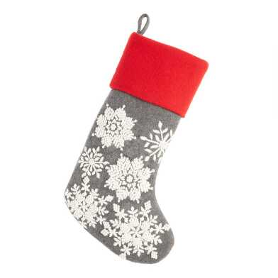 Gray and Ivory Snowflakes Wool Christmas Stocking