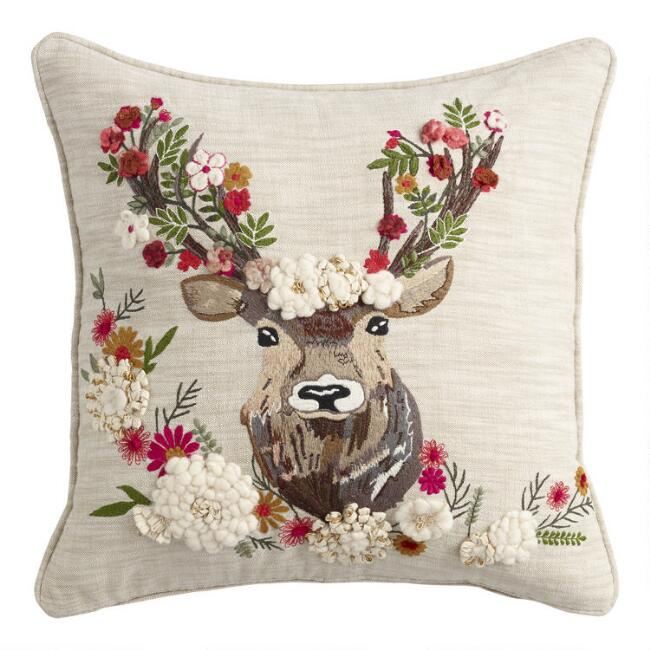 Wildflower Stag Embroidered Throw Pillow