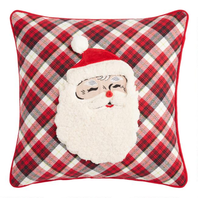Red Plaid Santa Claus Throw Pillow