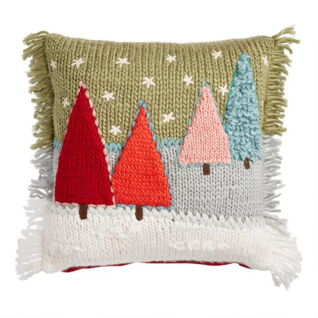 Multicolored Fir Tree Throw Pillow
