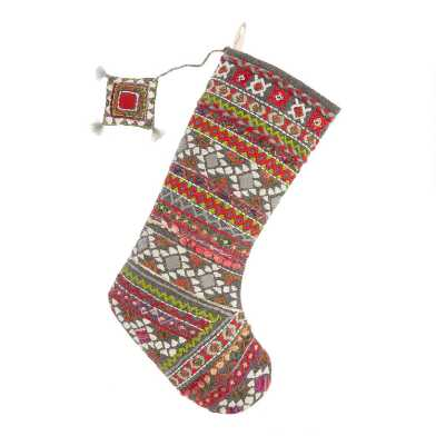 Multicolored Geo Embroidered Christmas Stocking
