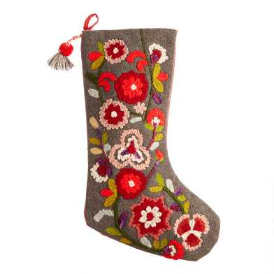 Multicolored Floral Garden Wool Christmas Stocking