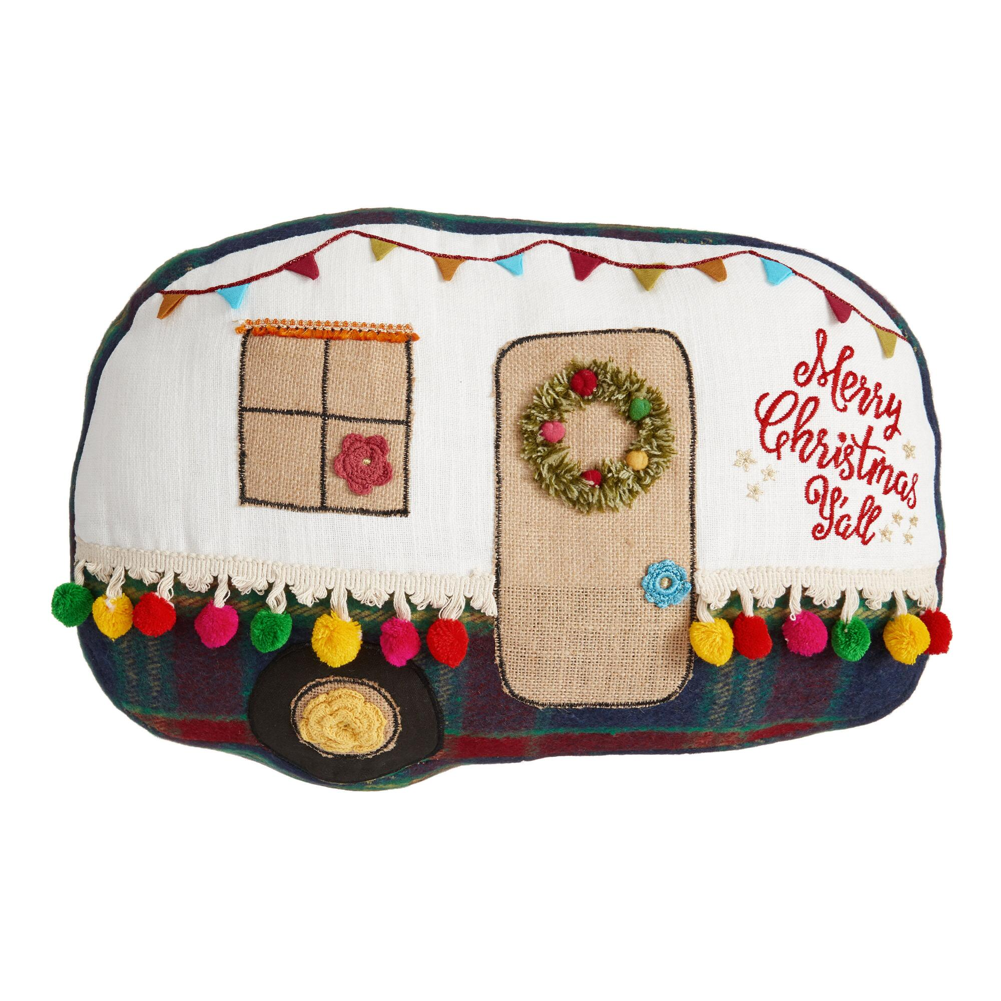 Merry Christmas Y'all Retro Camper Throw Pillow by World Market