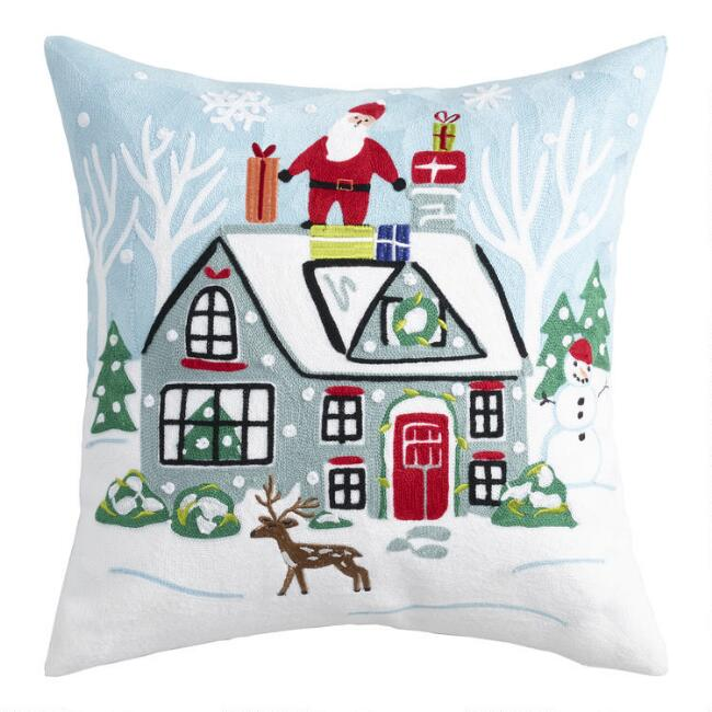 Winter Cabin Embroidered Christmas Throw Pillow