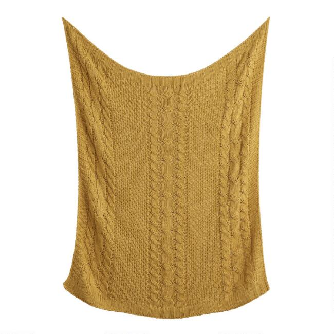 Golden Yellow Cable Knit Throw Blanket