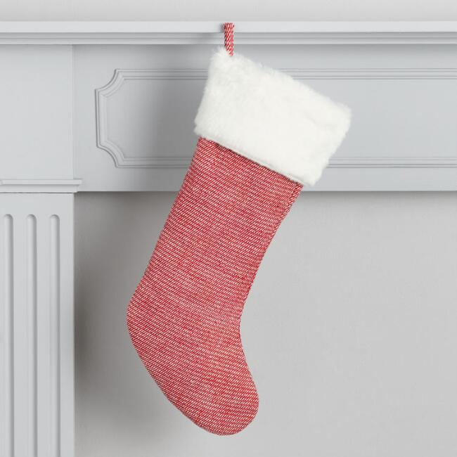 Red Twill with Faux Fur Christmas Stocking