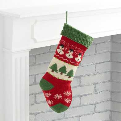 Red and Green Snowman Knit Christmas Stocking