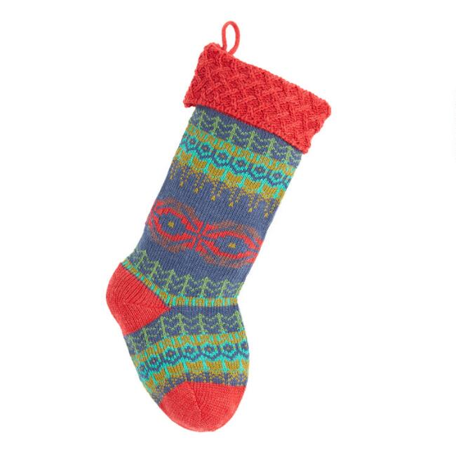 Blue and Green Fair Isle Trees Knit Christmas Stocking