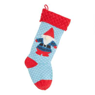 Blue and Red Gnome Knit Christmas Stocking