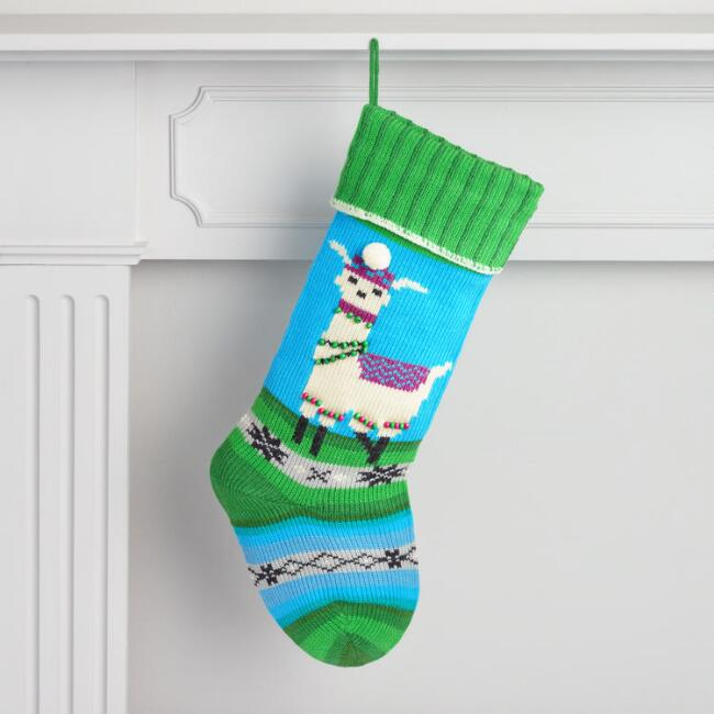 Blue and Green Llama Knit Christmas Stocking